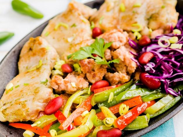 Piatto di carne messicano sul piatto Foto Gratuite