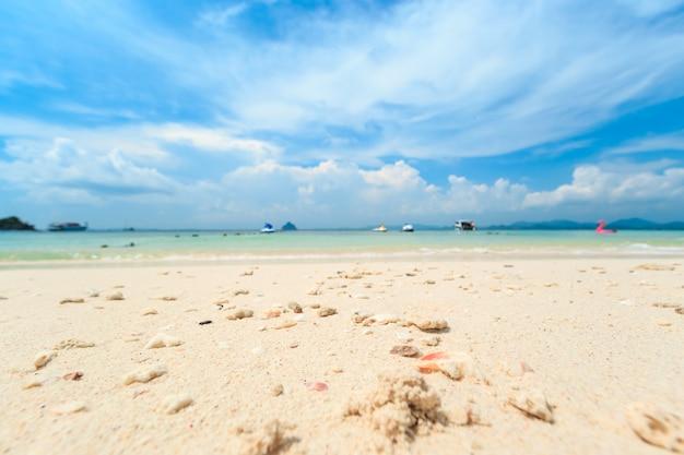 Piccola isola tropicale con spiaggia di sabbia bianca e acqua blu trasparente del mare delle andamane. Foto Premium