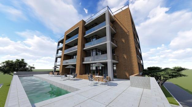 Piccolo condominio funzionale con una propria area chiusa, garage e piscina. area con ombrelloni per rilassarsi nella stagione calda. estate giornata di sole con nuvole piccole Foto Premium