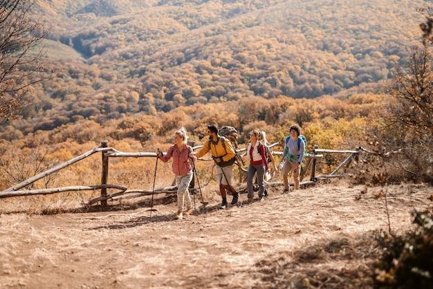 Piccolo gruppo di viandanti che esplorano la natura in autunno mentre camminando nel crudo. sullo sfondo montagne e foreste Foto Premium