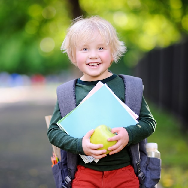 Piccolo scolaro sveglio all'aperto il giorno soleggiato di autunno Foto Premium
