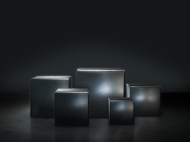 Piedistallo in metallo per display, piattaforma per il design, supporto per prodotto vuoto. rendering 3d. Foto Premium