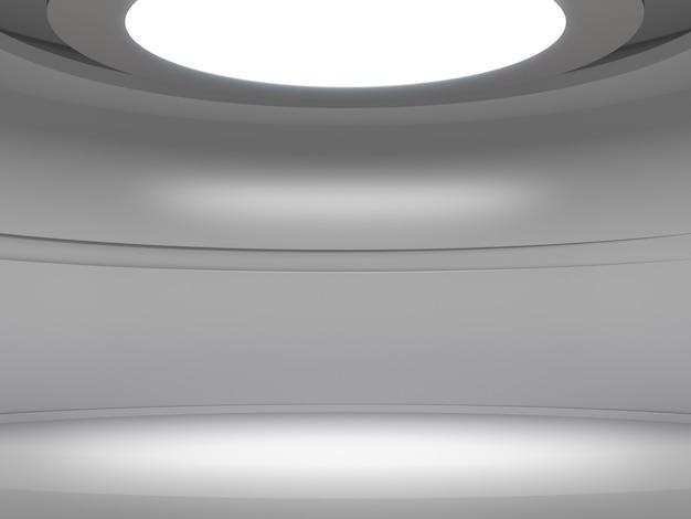 Piedistallo per esposizione nella stanza bianca vuota con luci dall'alto, supporto per prodotto vuoto. Foto Premium