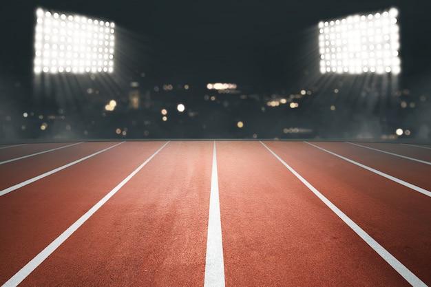 Pista di atletica con riflettori Foto Premium