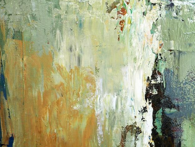 Pittura a olio di tiraggio della mano fondo beige dell'estratto di struttura del colpo della spazzola di colore su tela. Foto Premium
