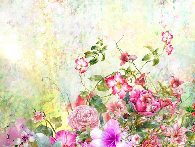 Pittura ad acquerello astratto fiori colorati. primavera multicolore in natura Foto Premium