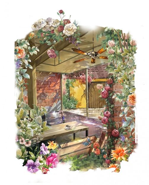 Pittura ad acquerello astratto fiori colorati Foto Premium