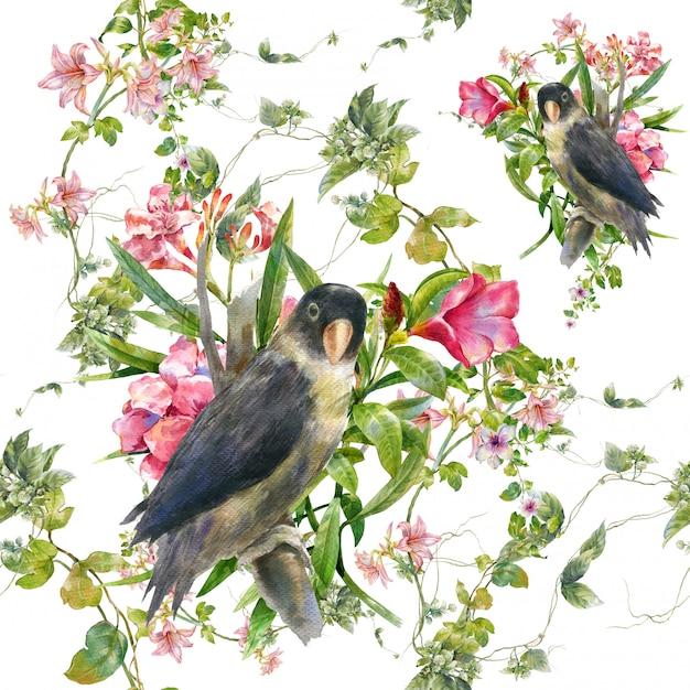 Pittura ad acquerello con uccelli e fiori, modello senza cuciture su bianco Foto Premium