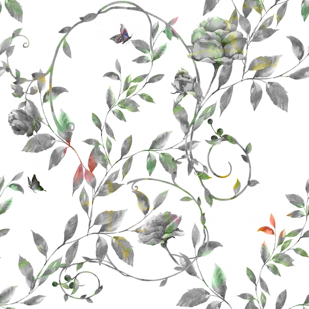 Pittura ad acquerello di foglie e fiori, modello senza soluzione di continuità Foto Premium