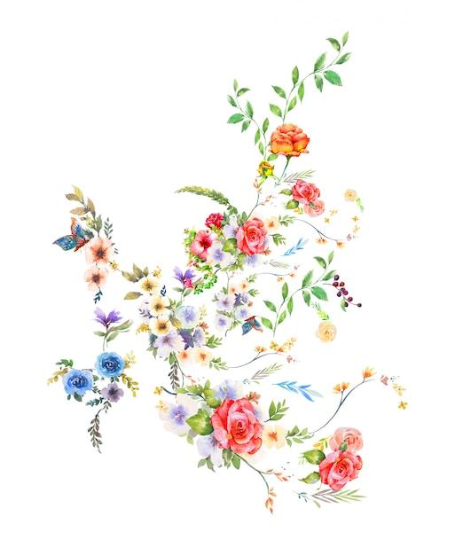 Pittura ad acquerello di foglie e fiori Foto Premium