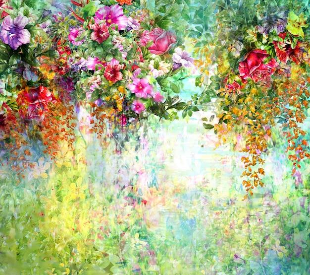 Pittura ad acquerello fiori astratti. fiori multicolori di primavera Foto Premium