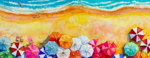 Pittura ad acquerello vista sul mare vista dall'alto colorato di amanti, famiglia. Foto Premium