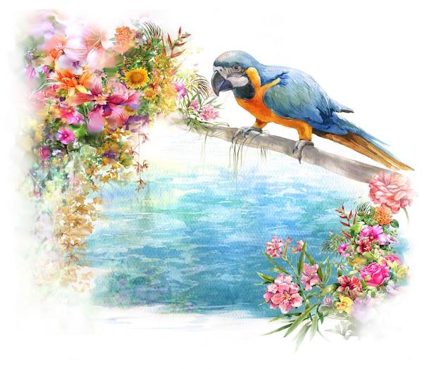 Pittura dell'acquerello con l'uccello e i fiori, su bianco Foto Premium
