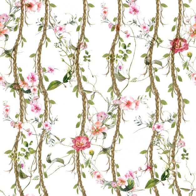 Pittura dell'acquerello della foglia e dei fiori, modello senza cuciture su fondo bianco Foto Premium
