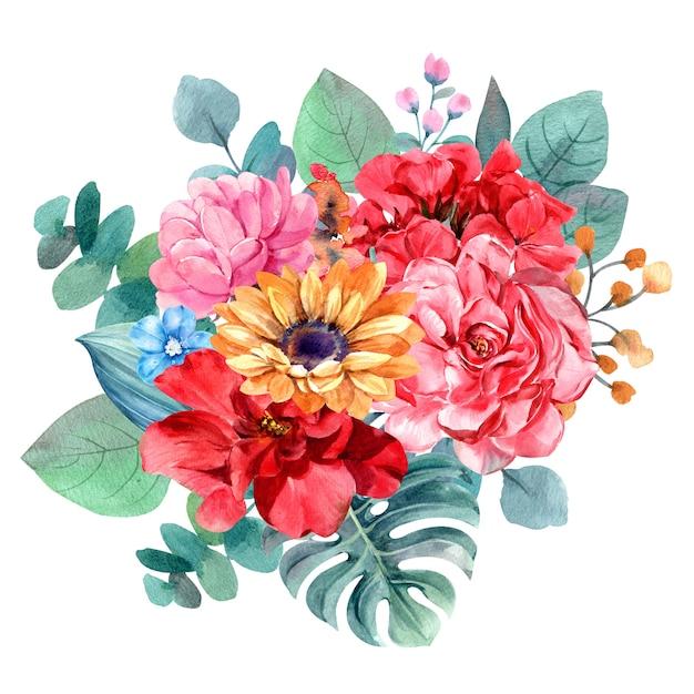 Pittura dell'acquerello isolata mazzo del fiore per l'illustrazione Foto Premium