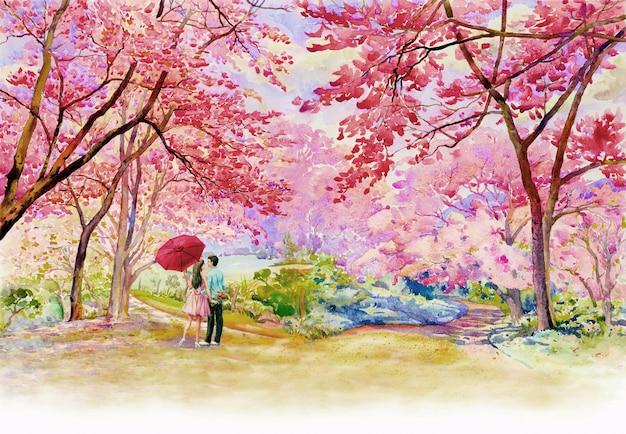 Pittura wild ciliegio himalayano lungo la strada al mattino Foto Premium