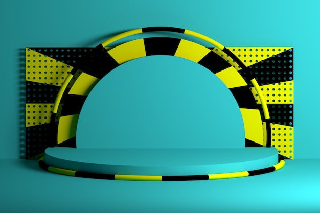 Podi blu con forme di anelli neri gialli Foto Premium