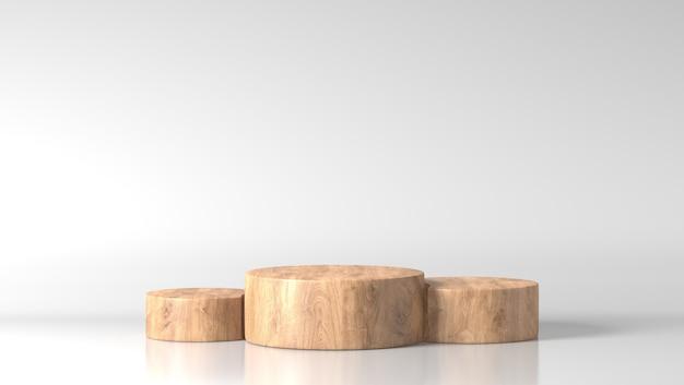 Podio a tre cilindri di legno fine marrone di lusso minimo nel fondo bianco Foto Premium