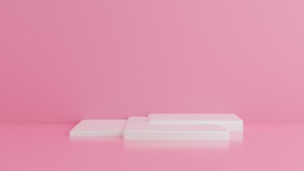 Podio bianco minimal rosa muro.sfondo astratto. . Foto Premium