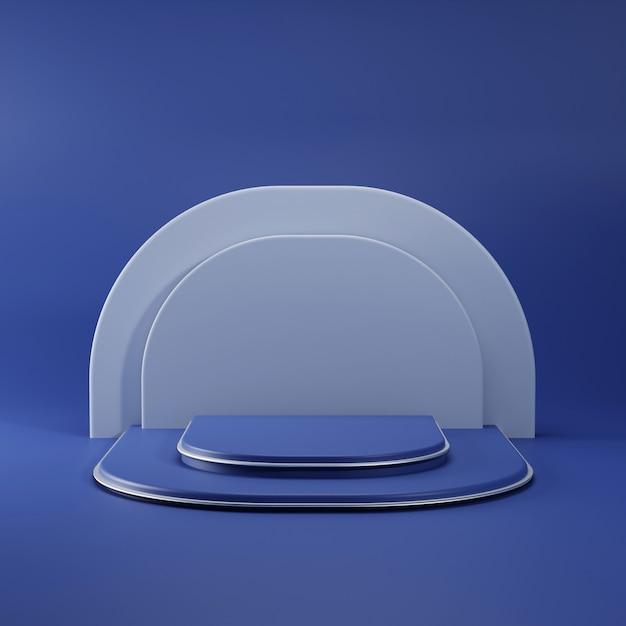 Podio blu semplice con linea in metallo Foto Premium