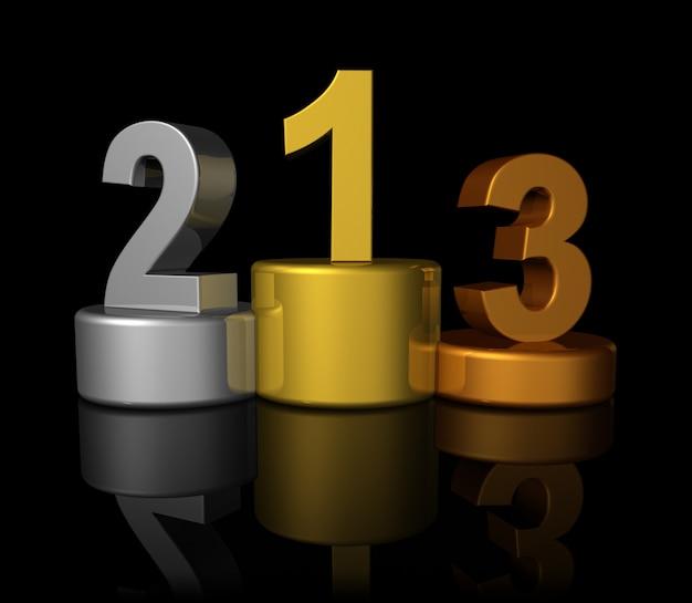 Podio con bronzo, argento, oro vincitori e numero uno, due, tre - tre dimensionale illustrazione isolato su fondo nero Foto Premium