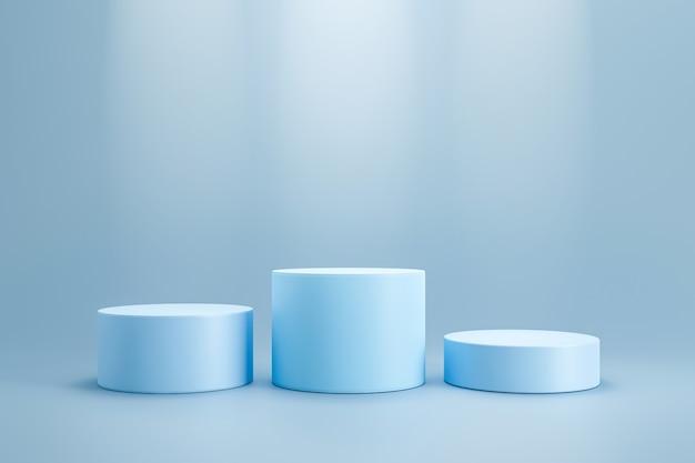 Podio del vincitore e supporto in bianco sulla parete del piedistallo del cilindro con mensola del prodotto del riflettore. podio da studio in bianco per la pubblicità del prodotto. rendering 3d. Foto Premium