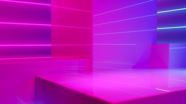 Podio di esposizione del prodotto con fumo e luce al neon viola Foto Premium