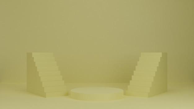 Podio di rendering 3d, supporto, vetrina su luce pastello, sfondo astratto con scale per prodotto premium. Foto Premium