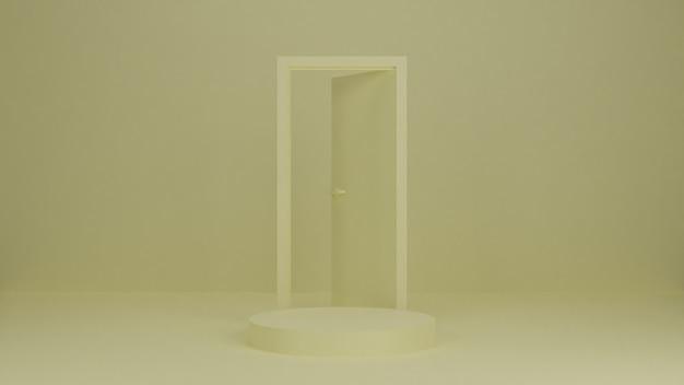 Podio di rendering 3d, supporto, vetrina su luce pastello, sfondo astratto con una porta per prodotto premium Foto Premium