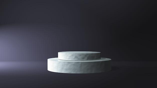 Podio in marmo 3d in un interno di camera oscura Foto Gratuite