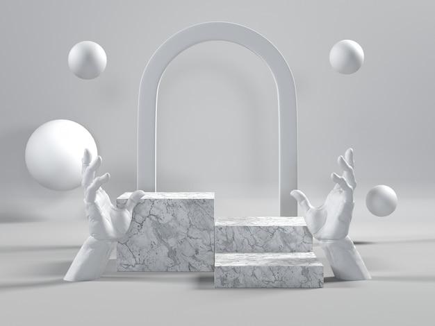 Podio in marmo bianco di lusso per cosmetici o altri prodotti. Foto Premium