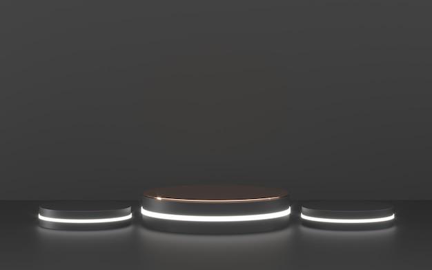 Podio nero con illuminazione per la presentazione del prodotto Foto Premium