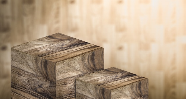 Podio per espositore realizzato in legno duro in due fasi per il prodotto espositivo Foto Premium