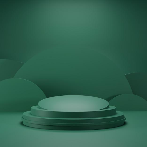 Podio verde con colore verde scuro e sfondo a forma curva Foto Premium