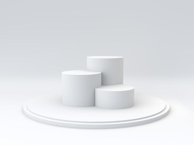 Podio vuoto dei vincitori su fondo bianco. rendering 3d Foto Premium