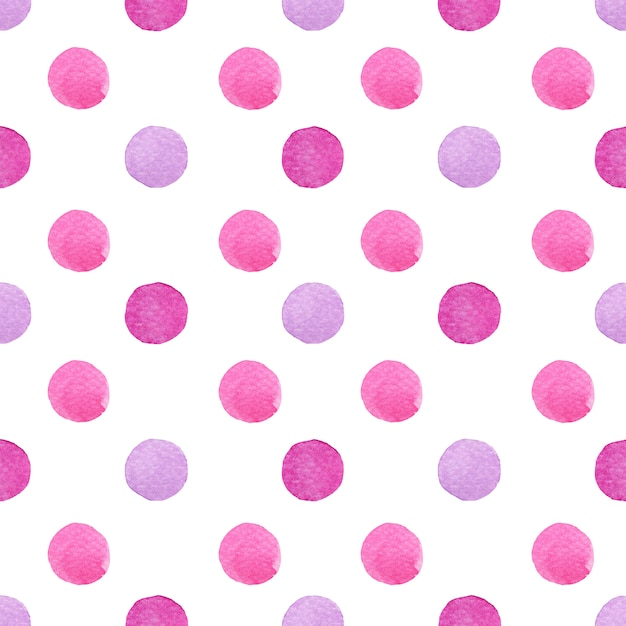 Pois dell'acquerello che dipingono nella pendenza porpora e rosa macchiati nel modello senza cuciture su bianco. Foto Premium