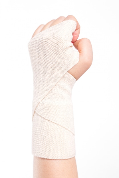 Polsi femminili legati con un bendaggio elastico Foto Premium