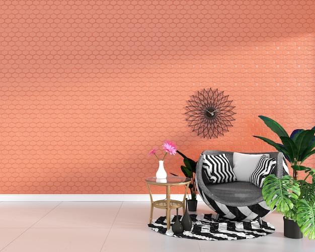 Poltrona sul fondo arancio della parete di struttura delle mattonelle di esagono, progettazione minima, rappresentazione 3d. Foto Premium