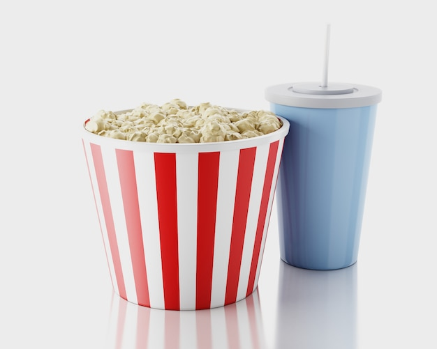 Popcorn e bevande. concetto di film immagine di rendering 3d. Foto Premium