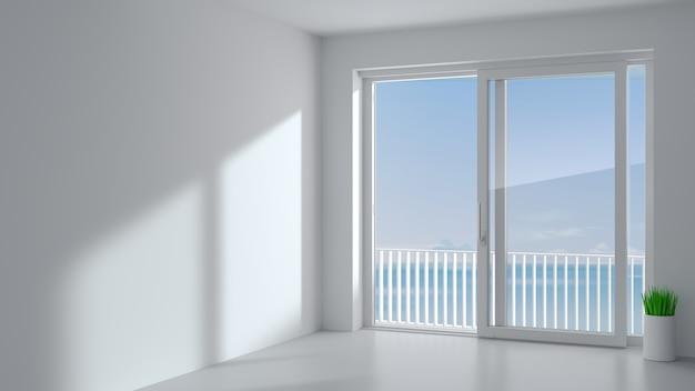 Porta scorrevole esterna con due ante bianche. specie finestra panoramica e terrazza. Foto Premium