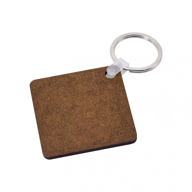 Portachiavi a anello in bianco isolato su priorità bassa bianca. portachiavi per il tuo design. Foto Premium