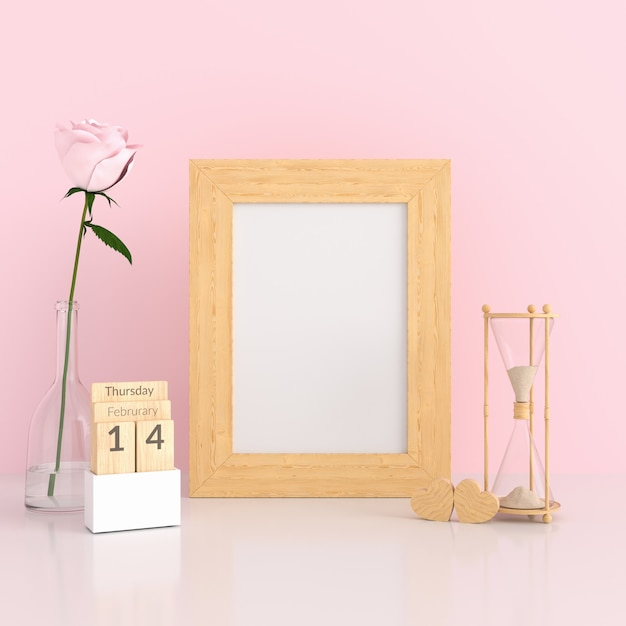 Portafoto bianco nella stanza rosa per mockup Foto Premium