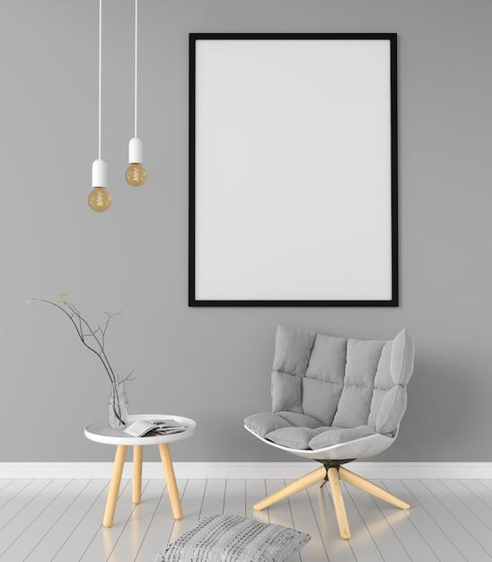 Portafoto bianco per mockup in salotto Foto Premium