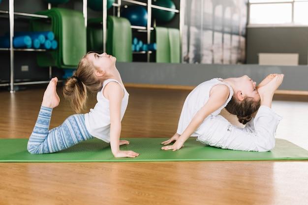 Posa di pratica di yoga di due ragazze su una stuoia in palestra Foto Gratuite