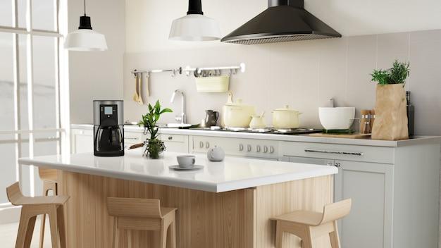 Poster interno soggiorno e cucina Foto Premium