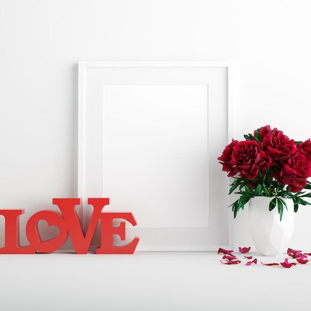 Poster mockup con fiori di rosa rossa in bianco vaso e red love segno di san valentino Foto Premium