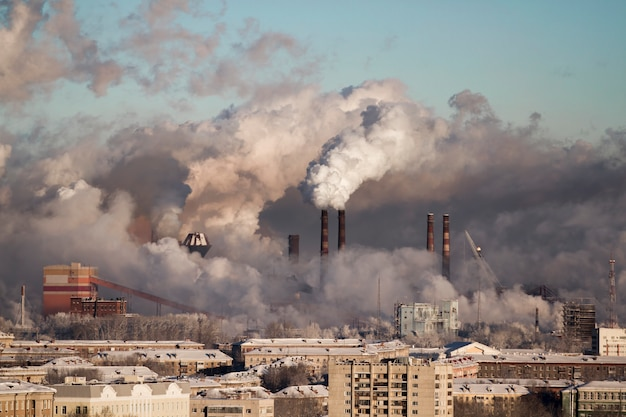 Povero ambiente in città. disastro ambientale Foto Premium