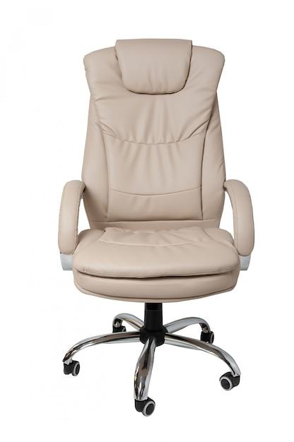 Presidenza dell'ufficio del cuoio bianco isolata su bianco Foto Premium