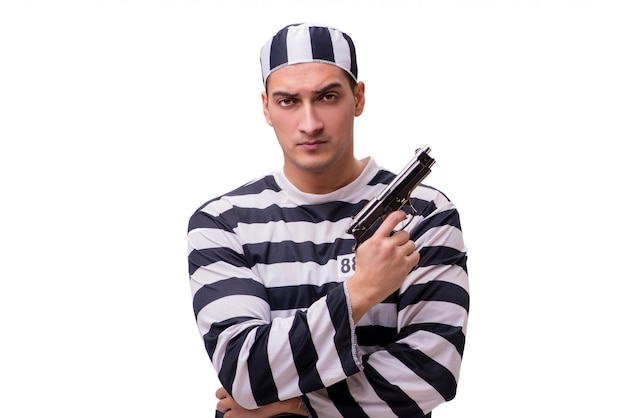 Prigioniero dell'uomo con la pistola isolata su bianco Foto Premium