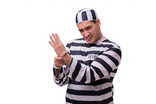 Prigioniero dell'uomo isolato su bianco Foto Premium
